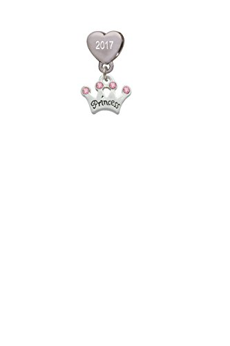 - Small ''Princess'' Crown with Pink Crystals Custom Year Stainless Steel Heart Bead Charm