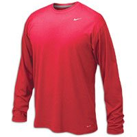 Nike Mens Legend Poly Long Sleeve Dri-Fit Training Shirt University Red/Matter Silver 384408-657 Size Medium