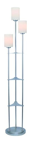 3-Lite Floor Lamp, Brushed Nickel/Frost Glass, E27 A (Lite Source Lighting Glass Floor Lamp)