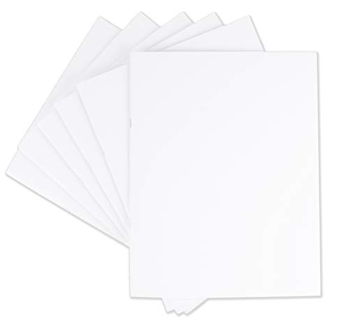 24 Notepad Sheet (Blank Notebook - 6-Pack Unlined Books, Unruled Plain Travel Journals for Students, School, Children's Writing Books, Creative Class Projects, White, 8.5 x 11 Inches, Letter Sized, 24 Sheets Each)