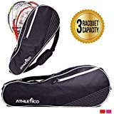 Athletico 3 Racquet Tennis Bag   Padded to Protect Rackets & Lightweight   Professional or Beginner Tennis Players   Unisex Design for Men, Women, Youth and Adults (Black)