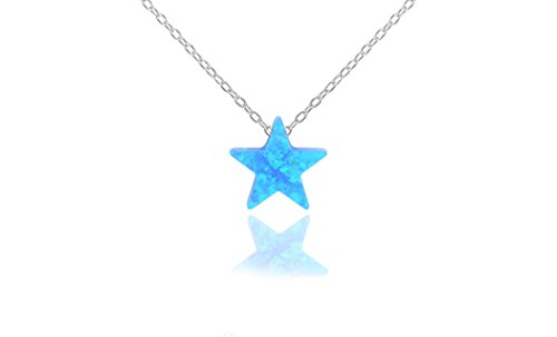 Blue Star Necklace - NYC Sterling Women Lab Created Blue Opal Pendant Necklace (Star)