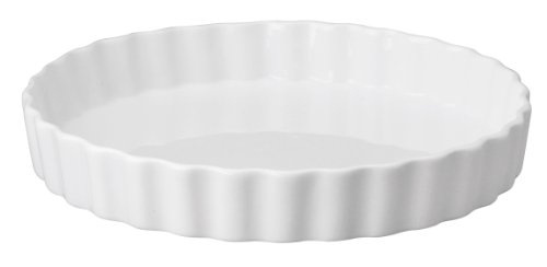 HIC Round Quiche, Fine White Porcelain, 10 x 1.5-Inches (Quiche Round Pan)
