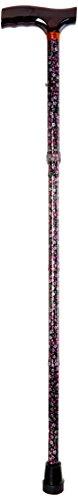 Drive Medical Lightweight Adjustable Folding Cane with T Handle, Black Floral (Cane Floral)