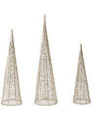 Cone Tree Set - Mud Pie Gold Glitter Cone Nested Set of 3 Christmas Tree Set Table Sitter,
