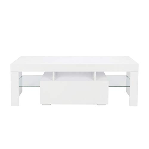 White LED Light Shelves 1 Drawers Console TV Stand Living Room Home Wooden TV Cabinet xuanL (Wooden Tv Cabinet Small)