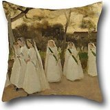 (Pillow Cases Of Oil Painting Joaquim Vayreda - Procession Of Schoolgirls,for Lover,valentine,son,father,office,home Theater 20 X 20 Inches / 50 By 50 Cm(two Sides))