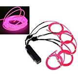 Ourbest El Wire 51m(3ft) Pink Neon Glowing Strobing with Battery for Jacket, Cars, parties, camping and Bar Decoration