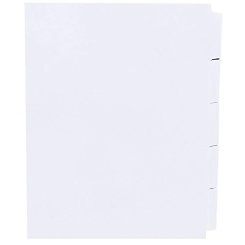 AMZfiling Never-Jam Custom Blank Copier Tabs- 5 Tab Dividers, White, 1/5 Cut, Straight Collated, Unpunched (1000/Carton)