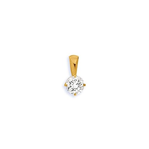 DIAMANTLY Pendentif or 750 cristal rond 6 mm or
