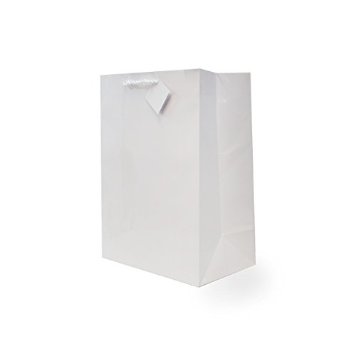 Premium Quality Paper Gift Bags For Birthday Party, Weddings and All Occasions (12 Gift Bags In One Order)- Large White 10 x 5 x 13 x 5