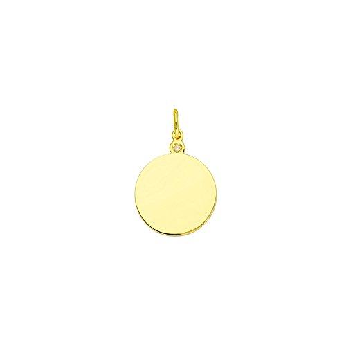 - 14k Yellow Gold 0.01 Dwt Diamond Engravable Round Disk Pendant