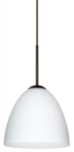 Besa Lighting 1JT-447007-BR 1X60W A19 Vila Pendant with Opal Matte Glass, Bronze Finish