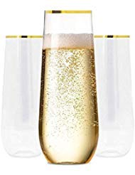 Plastic Champagne Flutes with GOLD RIM SET OF 24 | 9 Oz STEMLESS | Disposable | BPA-FREE | Shatterproof | Clear Toasting Glasses | Recyclable | Perfect for Weddings Party Events Holidays