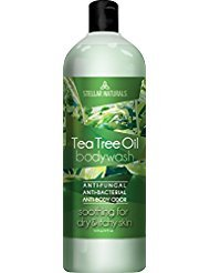 Antifungal Tea Tree Oil Body Wash - Antibacterial and Therapeutic - Tea Tree, Peppermint, Eucalyptus Oil - Helps with Athlete's Foot, Toenail Fungus, RingWorm, Body Itch, Acne, Body Odor - 16 ounces by Stellar Naturals
