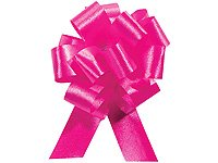 Hot Pink Pull String Bows - 5.5 Inch Wide 20 Loops (1 and 7/8 Inch Ribbon) Set of 10