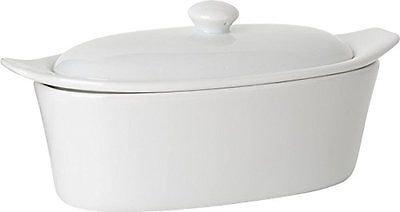 Old Home Kitchen Butter Keeper, Porcelain Butter Boat, White