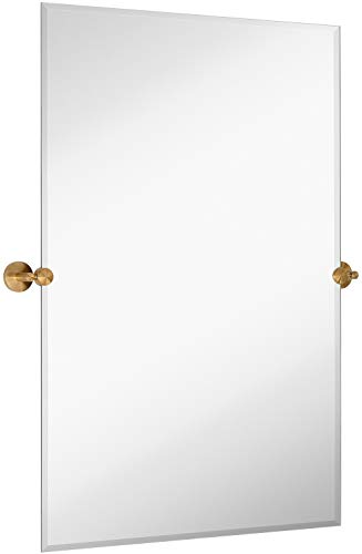 Large Tilting Pivot Rectangle Mirror with Brushed Gold Wall Anchors | Silver - Brass Bathroom Large Mirrors