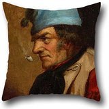 16 X 16 Inches / 40 By 40 Cm Oil Painting Cornelius Krieghoff - Habitant With Blue Tuque And Pipe Pillow Shams,two Sides Is Fit For Teens Girls,office,floor,kids,lounge,relatives