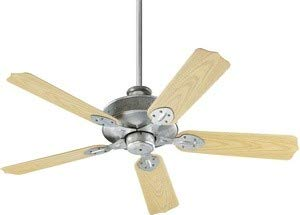 """Quorum 137525-9, Hudson Patio Galvanized 52"""" Outdoor Ceiling Fan"""