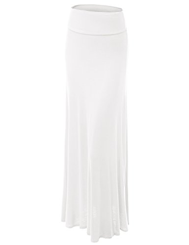 - Made By Johnny WB670 Womens Fold-Over Maxi Skirt S White