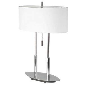 (Dainolite DM2222-PC Two Light Table Lamp, Polished Chrome Finish with White Linen Shade)