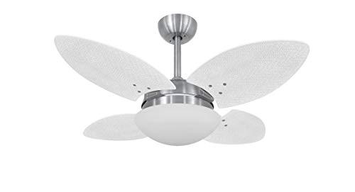 Ventilador De Teto Escovado 4 Pás Volare Platinum Vr28 Mini Petalo Palmae Branco 127v Volare Volare 110v Escovado Pequeno
