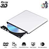External Blu Ray CD DVD Drive 3D 4K, USB 3.0 Optical Bluray DVD CD RW Row Burner Player Rewriter Portable Compatible for MacBook OS Windows 7 8 10 PC iMac (Silver-0)