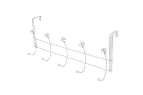Vanderbilt Home Over The Door Rack: 10 Hook with Crystal in Silver Orbit - Luminous: Hanger/Holder Organizer for Bed & Bathroom