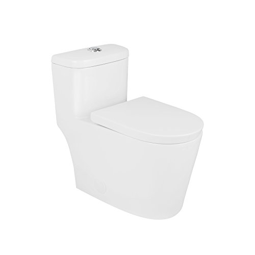 MAYKKE Menteith One-Piece Toilet with Elongated Soft Closing Seat | Dual Flush Siphonic Jets - 1.3 GPF and 12