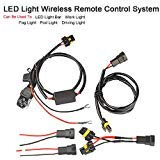 LED Light Bar Remote Control Wire Harness/Wireless Remote Control Wire Harness for LED Light Bar/Driving Light/Fog Light/Pod Light/Work Light, 16-Gauge,Be Useful for 12V and 24V