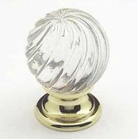 Cabinet Knob, Europa, Clear Crystal & Swirl Gold