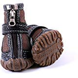 FLAdorepet Waterproof Dog Shoes Pu Leather Pet Dog Cat Rain Shoes Boots Dog Paw Protectors for Small Dog 4Pcs (4, Brown)