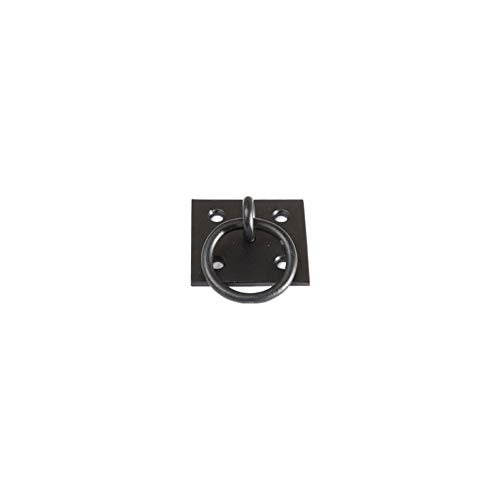 "Timberlane Genuine Plate Mount Pull Ring, 1 1/2"" Length Shutter Hardware, Black Powder Coated Stainless Steel"