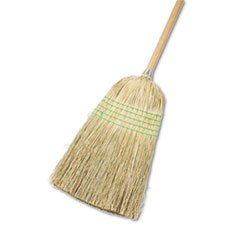 Parlor Broom, Yucca/corn Fiber Bristles, 56quot;, Wood Handle, Natural, 12/carton by Boardwalk