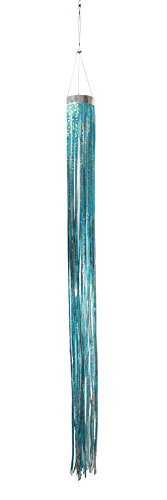 Mylar Streamer - West Coast Design Studios In the Breeze Teal Holographic Mylar Windsock Hanging Decoration - Decorative and Humane Bird and Pest Deterrent