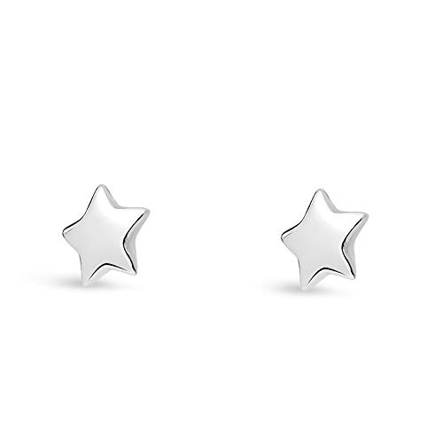 Sterling Silver Dainty Star Stud Earrings in Gold, Rose Gold or Silver | Minimalist Hypoallergenic Studs (Sterling Silver) ()