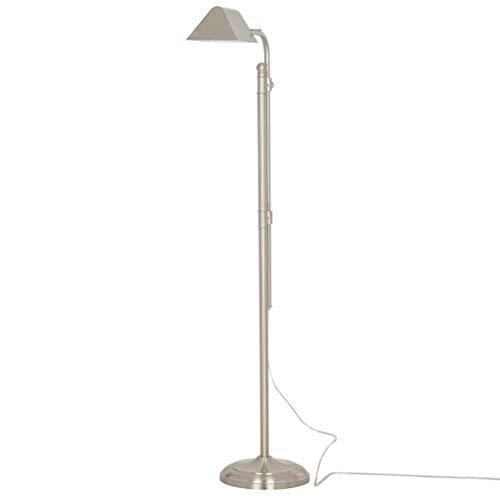 - Ravenna Home Metal Adjustable Living Room Standing Pharmacy Floor Lamp With LED Light Bulb - 49.75 to 62 Inches, Brushed Nickel