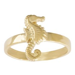 Gold Nautical Ring Ring Adjustable Seahorse Toe Ring
