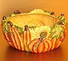 Fall Pumpkin And Sunflower Sculpted Bowl For Thanksgiving/Autumn Harvest