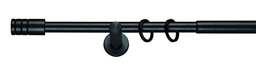 mydeco Komplettgarnitur in Schwarz - Ausziehbar von 120 cm bis 210 cm; Rillcube 19 mm Gardinenstange aus Metall  inkl. Träger, Ringe + Befestigung