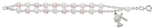 ((BR379CS) 6 1/2 PINK/WHITE BRACELET CSB PINK AND WHITE HEART DOUBLE STRAND BRACELET WITH RHODIUM CHALICE AND CRUCIFIX. INCLUDES A GIFT BOX. DIMENSION: 6.5