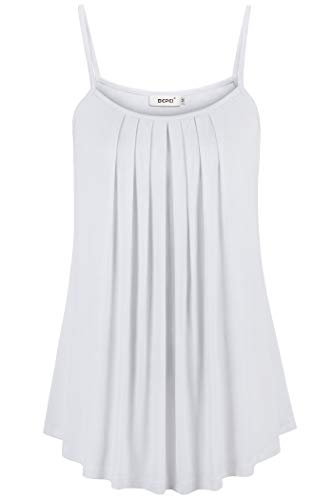 (BEPEI Flowy Shirts for Women,Young Lady Fowly Tunics for Leggings Modesty Ruch Peplum Top Slender Slimming Fitted Stretch Beach Blouse Silky Beauty Club Evening Camisole Tank White S)