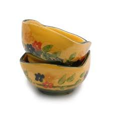 Souleo, Set of 2, Provence Terre è Provence Small Square Nut / Open Sugar Bowls, Divers Pattern, 4