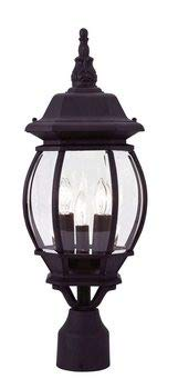 Livex Lighting 7526-04 Frontenac - Three Light Exterior Lantern, Black Finish with Clear Beveled Glass