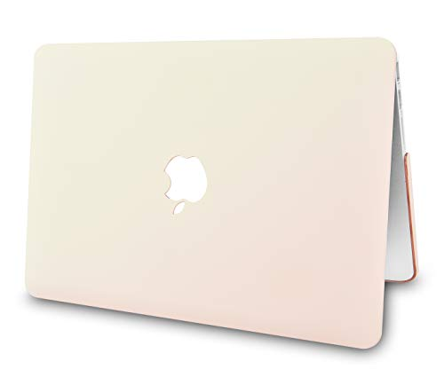 """KECC Laptop Case for MacBook Air 13"""" w/Keyboard Cover Plastic Hard Shell Case A1466/A1369 2 in 1 Bundle (Pale Pink Cream)"""
