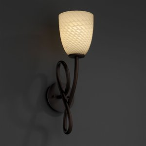 Justice Design FSN-8911-65-OPAL-MBLK Capellini One Light Wall Sconce, Glass Options: OPAL: Opal Glass Shade, Choose Finish: Matte Black Finish, Choose Lamping Option: Standard Lamping - Capellini Matte