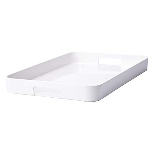 Zak Designs 21in x 13.5in Large Gallery Serving Tray - BPA-free, Eggshell White GL (Tray Handles Melamine With)