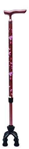 [보행보조재활지팡이] 섬제작소 알루미늄MIX4 점가동식 지팡이 스몰 타입75MA 벚꽃무늬 로즈 핑크 / 벚꽃무늬 퍼플 /  꽃무늬 블랙