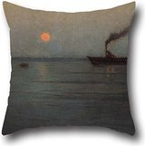 Pillowcase 20 X 20 Inches / 50 By 50 Cm(double Sides) Nice Choice For Bar Seat,valentine,floor,chair,car Seat,floor Oil Painting L. Birge Harrison - Rosy Moon Off Charleston Harbor